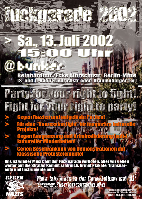 Fuckparade Flyer 2002: Partypolitik