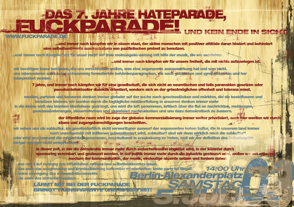 Fuckparade Flyer 2003: Rückseite