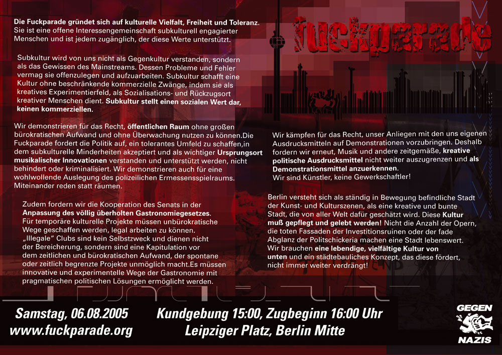 Fuckparade Flyer 2005: Rückseite mit Text