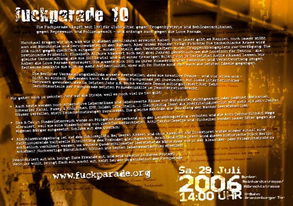 Fuckparade Flyer 2006: Rückseite mit Text