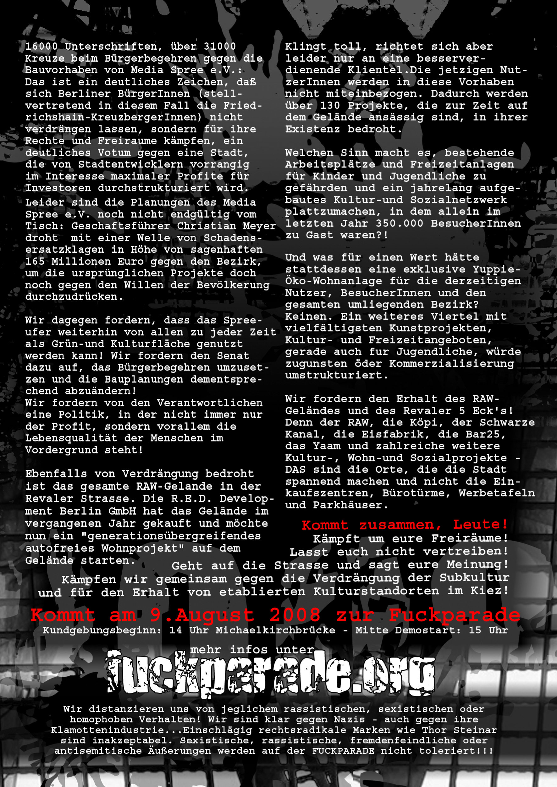 Fuckparade Flyer 2008: Rückseite mit Text